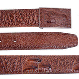 Authentic leather fashion designer crocodile grain texture waist belt