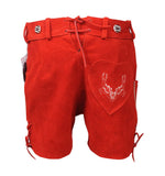 Authentic Leather Short Lederhosen Women Oktoberfest Costume Red Back View
