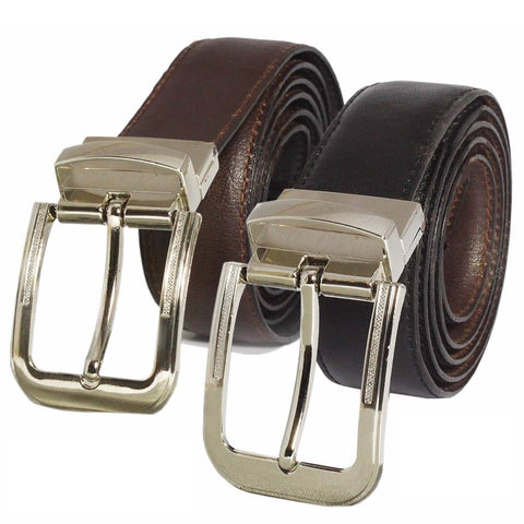 Authentic Leather Designer Suiting Reversible Buckle Black Brown Belt