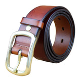 motorcycle pants Leather High Quality Casual Dress Golden Buckle Coffee Brown Belt