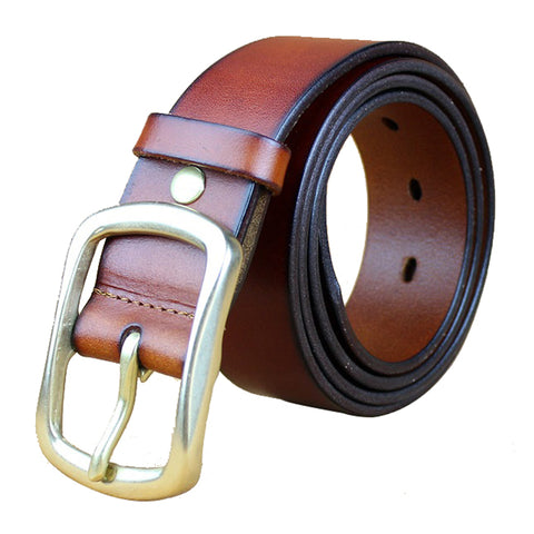 Formal Dress Belt Red Brown with Golden Pin Buckle