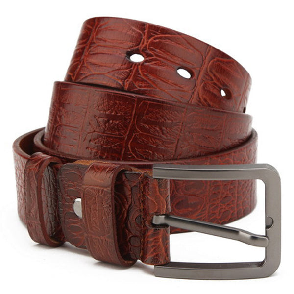 Genuine Leather Craft Pattern Brown Belt