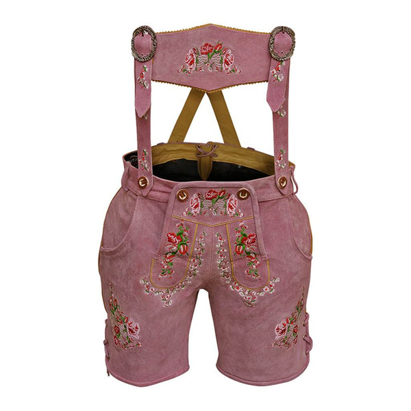 Women Lederhosen Leather Short Rose Pink