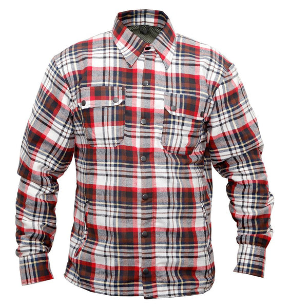 Men Motorcycle Bikers Riders Cotton Flannel Kevlar Black Red Shirt
