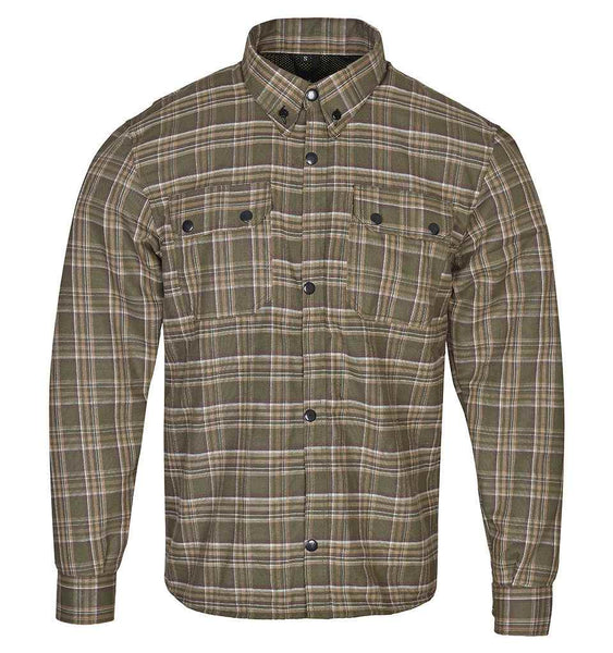 RIDERACT™  Flannel Riding Shirt Khaki Checked