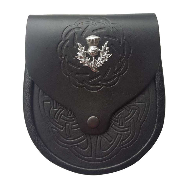 Thistle Celtic Embossed Button Closure Sporran