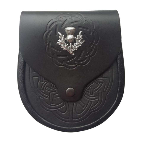 Highland Kilt Leather Sporran Button Clsure design