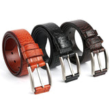 Crocodile Grain Genuine Leather Red Brown Black Dress Waist Belt
