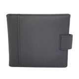 Leather Bifold ID Card Coin holder Button Closure Black wallet