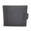 Men Genuine Real Leather Bifold ID Card Coin holder Button Closure Black wallet