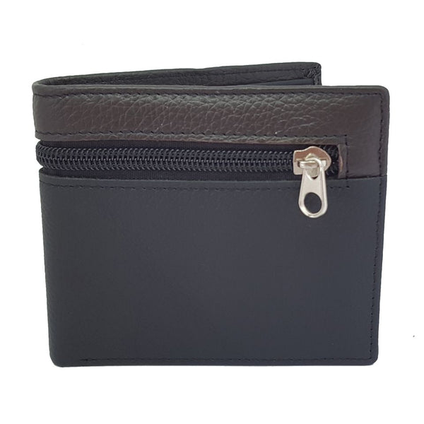 Men Genuine Leather Bifold ID Card Coin Holder Zipper Business Black Wallet