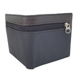 Leather Bifold ID Card Coin Holder Zipper Business Black Wallet outer