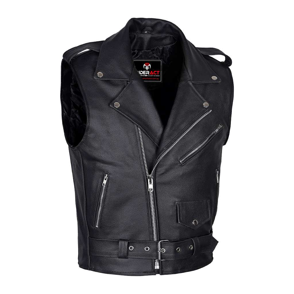 3dcbd81bb09af Brando Style Men Leather Vest Black Sleeveless Jacket – Gentry Choice