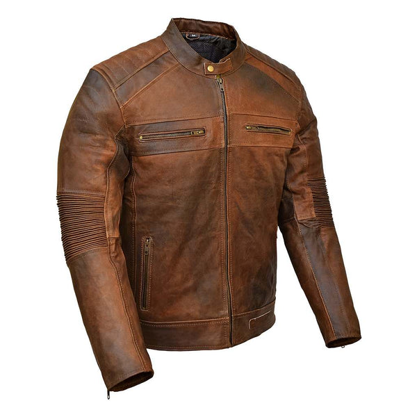 RIDERACT™ Vintage Leather Jacket Cafe Racer