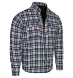 kevlar reinforced biker shirt blue black green white red check
