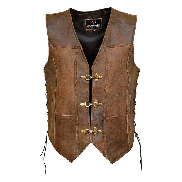 RIDERACT™ Harley Distress Leather Vest Antique Clasp Closure