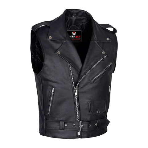 Men Brando Style Leather Vest Black Sleeveless Jacket