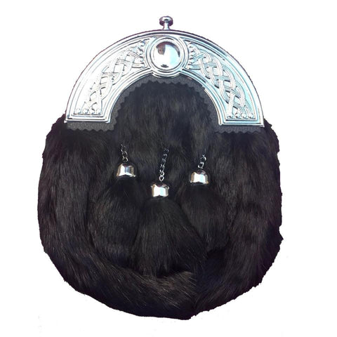 Chrome Head Black Rabbit Fur Sporran