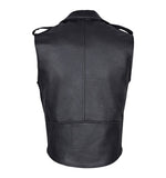 Men Brando Style Leather Vest Black Sleeveless Jacket Backview