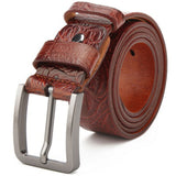 Leather Top Quality Craft Pattern Casual Fashion Brown Belt