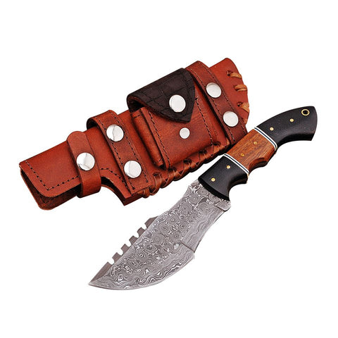 Custom Hand Made Damascus Steel Hunting Tracker Knife with Sheath