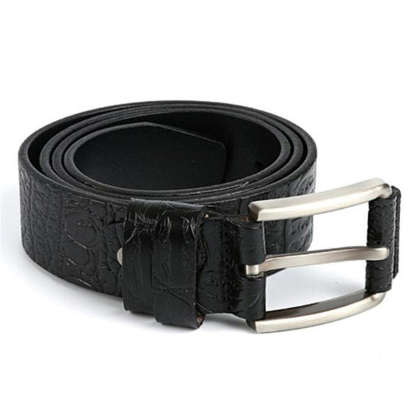 Crocodile Grain Genuine Leather Black Dress Waist Belt