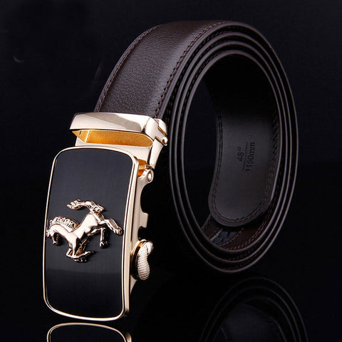 Leather Automatic Lock Stainless Horse Buckle Black Dress Belt