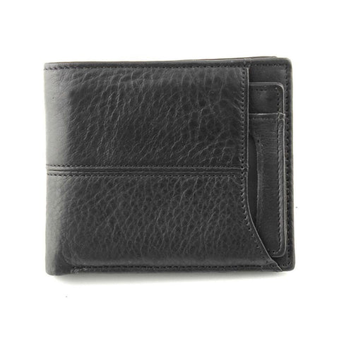 Real Leather Bi fold Wallet with Removable Card Holder Men Black Wallet