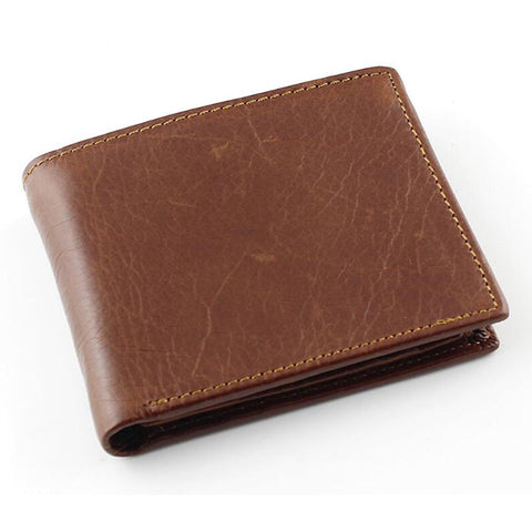 Men's Smart Choice Bi Fold Stylish Authentic Leather Brown Wallet outer view