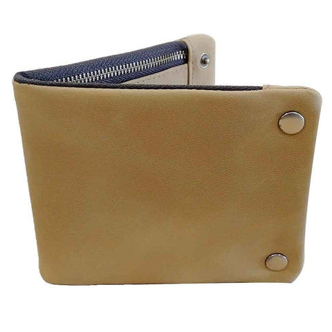 Business Leather Wallet Trifold Tan Brown WTM210