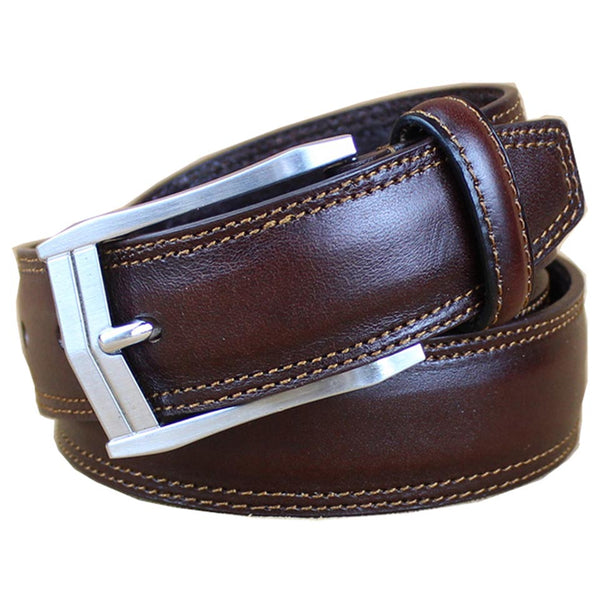 Formal Jeans Belt Coffee Brown Double Stitched Steel Silver Buckle