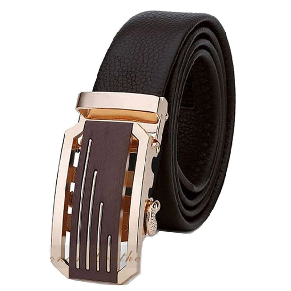 Leather Automatic Lock Silver Gold Buckle Dress Black Belt