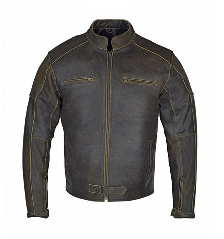 Vintage Motorcycle Distressed Leather Bikers Rustic Black Jacket