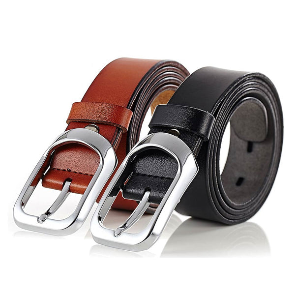Formal Leather Belt Soft with Alloy Pin Buckle