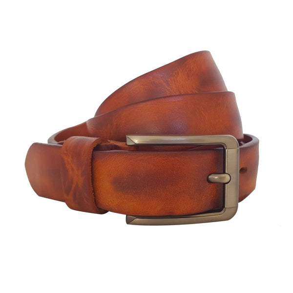 Vintage Leather Belt Slim Double Tone Brown