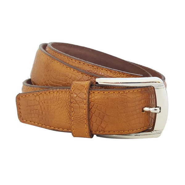 Authentic Leather Texture Pattern Full Grain Dress and Jeans Brown Belt