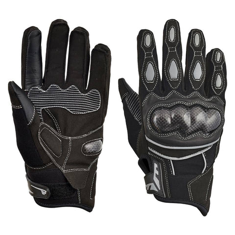 Motorcycle Riding Gloves Leather Reflective Black Grey GLM501