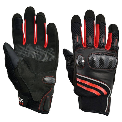 Motorbike Rider's Protective Leather Gloves Black Red GLM502
