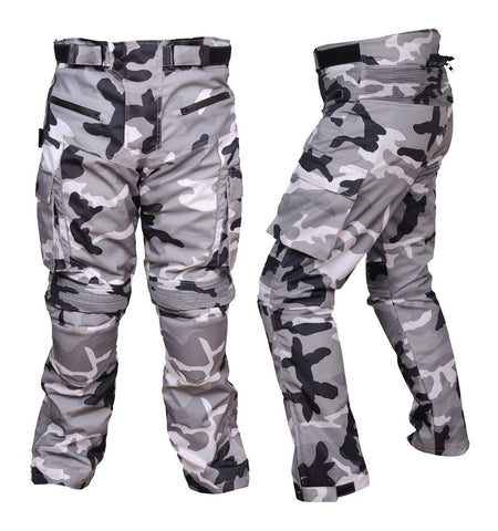 Men's Motorcycle Textile Cordura Waterproof Camouflage Grey Pant