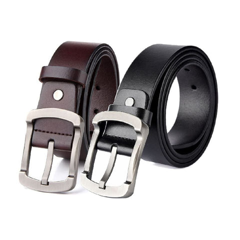 Leather Casual Suiting Dress Pin Buckle Belt Black and Coffee Brown