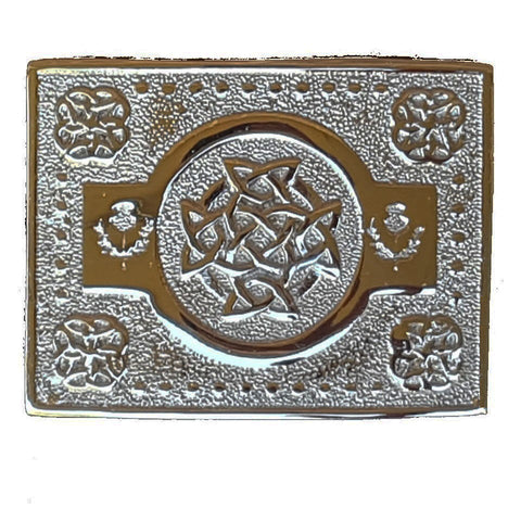 Celtic Circle Thistle Kilt Belt Silver Buckle