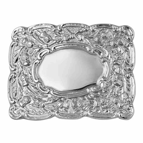 Thistle design kilt belt buckle silver