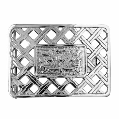 net platter see through thistle kilt belt buckle