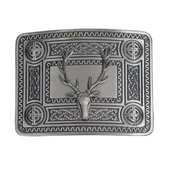 Stag Mount Kilt Belt Buckle Silver