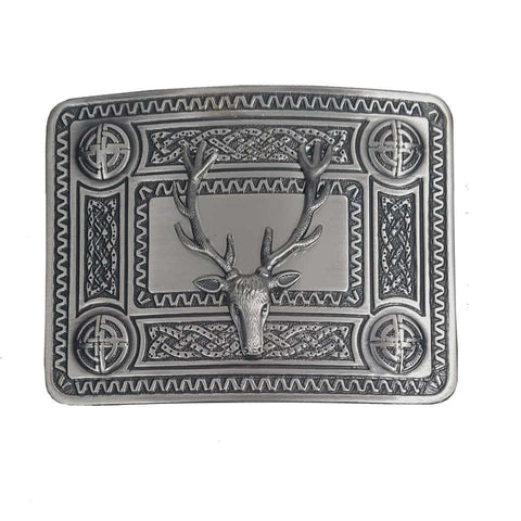 Stag Head Mount Celtic Kilt Belt Buckle