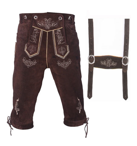 Mens Lederhosen Kniebund Brown