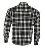 kevlar shirt black white checkered cotton flannel back side