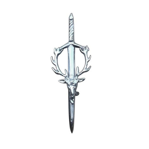 Stag Head Kilt Pin Silver