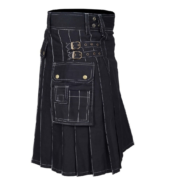 Cargo Black Utility Kilt White Outlined