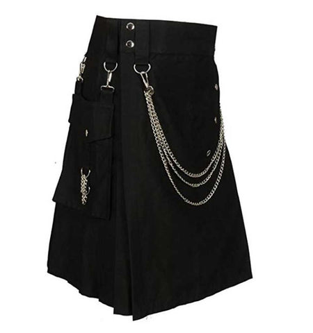 Cargo Black Utility Kilt Chained